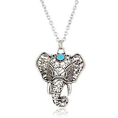 Women's Turquoise Pendant Necklace - Silver Plated, Turquoise Elephant, Animal Bohemian, Boho Silver Necklace Jewelry For Casual, Street