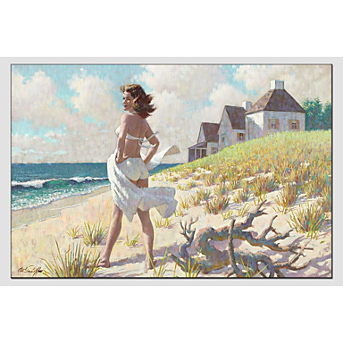 Oil Painting Hand Painted - People Comtemporary Canvas