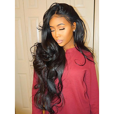 521a83716 Human Hair Lace Front Wig Middle Part style Brazilian Hair Wavy Body Wave  Natural Wave Natural Black Wig 130% Density with Baby Hair Unprocessed  Natural ...