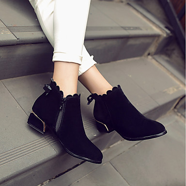Bottes la Botte Chaussures à Bas rond Noeud Talon Bottes Hiver Noir Femme Fuchsia Mode 06404776 Amande Similicuir Bottine Bout Demi BSxnwfg0