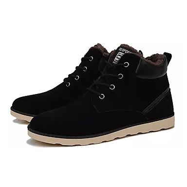 Herren Schuhe PU Frühling Herbst Komfort Stiefel Schnürsenkel Für Normal Schwarz Braun Blau