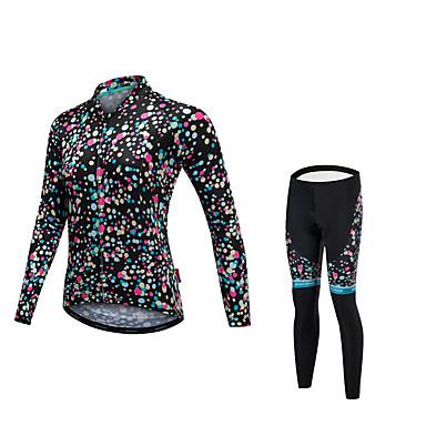 Malciklo Damskie Długi rękaw Koszulka i spodnie na rower - Black Rower Zestawy odzieży, Quick Dry, Anatomiczny kształt, Odblaskowe paski