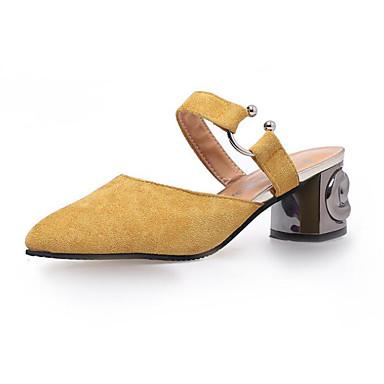 Mujer Zapatos Cuero de Napa Primavera Confort Zuecos y pantuflas Tacón Cuadrado Negro / Amarillo p1IUt