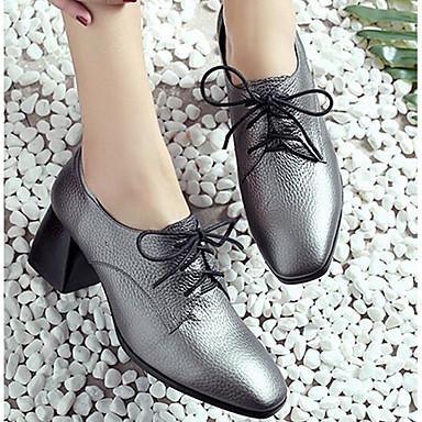 Printemps Chaussures Gris Cuir Décontracté Confort Oxfords Pour 06347228 Femme Automne dwEvx8d