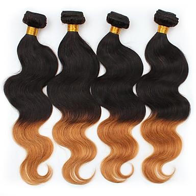 4 zestawy Włosy peruwiańskie Body wave Włosy naturalne Ombre Ludzkie włosy wyplata Ludzkich włosów rozszerzeniach