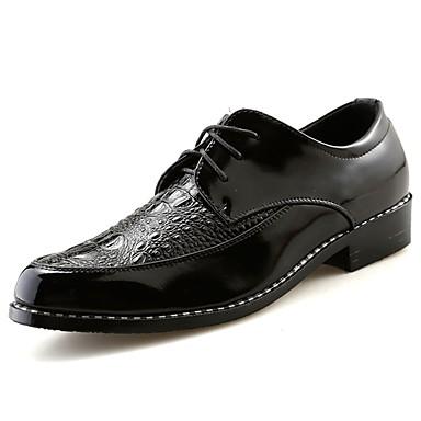 Męskie Buty Nappa Leather Skóra Wiosna Jesień Comfort Oksfordki na Casual Black Silver Czerwony