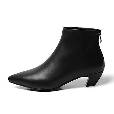Damen Schuhe PU Winter Springerstiefel Stiefel Spitze Zehe Mittelhohe Stiefel Reißverschluss Für Normal Schwarz