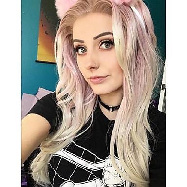 Syntetyczne koronkowe peruki Kinky Straight Różowy Damskie Koronkowy przód Peruka naturalna Długo Włosy syntetyczne