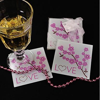 Szkło Kwiat Opowiada Coaster - 1 Każdy / Set Kwiatowy Motyw