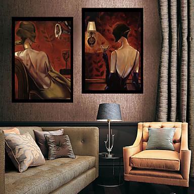 Ludzie Moda Ilustracja Wall Art,PVC (polichlorek winylu) Materiał z ramą For Dekoracja domowa rama Art Living Room Sypialnia Kuchnia