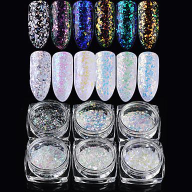 6pcs Acryl Pulver Glitzer Pailletten 6 Farben Nagel Kunst Maniküre Pediküre Elegant & Luxuriös / Strahlend & Funkelnd / Laser-Holografie