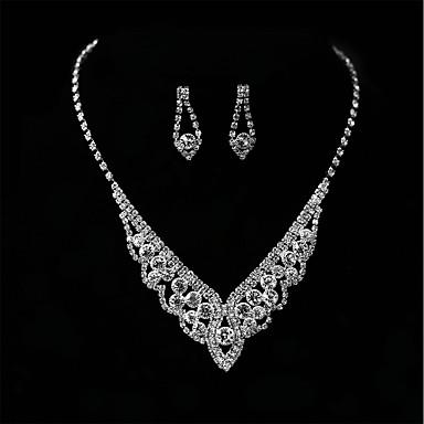 Damskie Rhinestone Biżuteria Ustaw Kolczyki wiszące, Naszyjniki z wisiorkami - Kryształ górski Silver