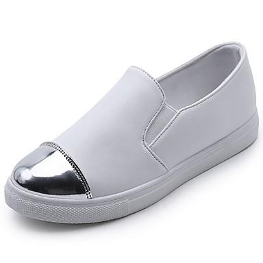 Damen Schuhe PU Winter Komfort Loafers & Slip-Ons Runde Zehe Für Normal Weiß Schwarz