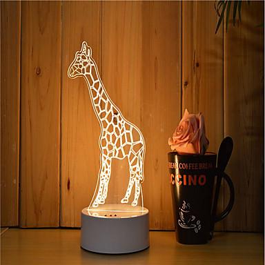 1 Satz von 3D-Stimmung Nachtlicht Handgefühl dimmbar USB angetrieben Geschenk Lampe Giraffe