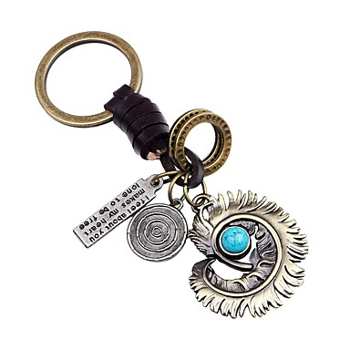 Łańcuszek do kluczy Złoty Nieregularny Skóra, Stop Vintage, Gotyckie Na Prezent / Ulica