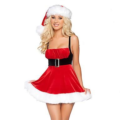 Urlaub FrauClaus Weihnachtsmann Austattungen Damen Weihnachten Fest / Feiertage Halloween Kostüme Rot Solide