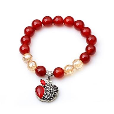 Mulheres ônix Pulseiras com Miçangas Apple Fashion Elegante Ágata Pulseira de jóias Vermelho Para Escola Rua