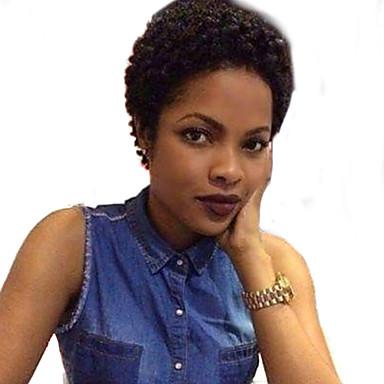 Ludzkie Włosy Capless Peruki Włosy naturalne Jerry Curl Kinky Curly Peruka afroamerykańska Krótki Tkany maszynowo Peruka Damskie