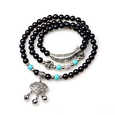 billige Motearmbånd-Dame Onyks Obsidian Perlearmbånd Sjal Armbånd Dyr Etnisk Agat Armbånd Smykker Svart Til Gave Nyttår