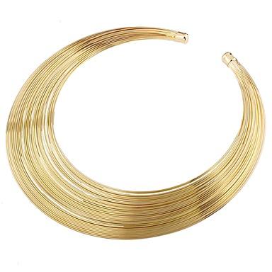 baratos Bijuteria de Mulher-Mulheres Gargantilhas Importante senhoras Metal Liga Dourado Colar Jóias Para Festa Cerimônia