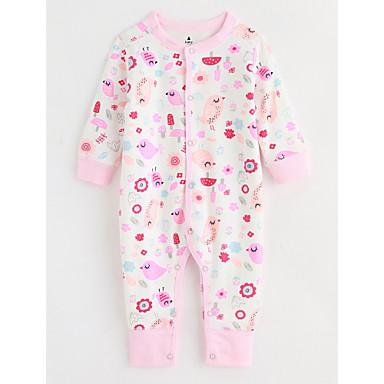 Dziecko Jednoczęściowe Bawełna Wzorzyste Jesień Długi rękaw Blushing Pink