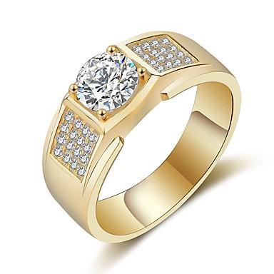 Męskie Rhinestone Band Ring - Circle Shape Vintage Elegancki Gold Silver Pierścień Na Ślub Impreza