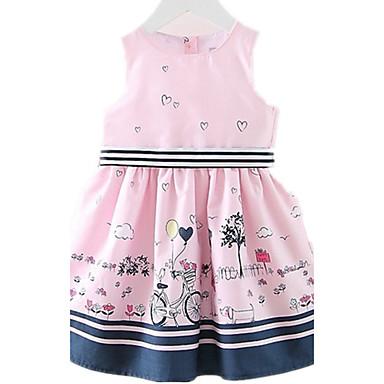 お買い得  女児 ドレス-子供 / 幼児 女の子 カトゥーン 日常 / 祝日 / お出かけ プリント ノースリーブ コットン ドレス ピンク