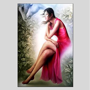 Hang-Malowane obraz olejny Ręcznie malowane - Ludzie Nowoczesny Płótno / Rozciągnięte płótno