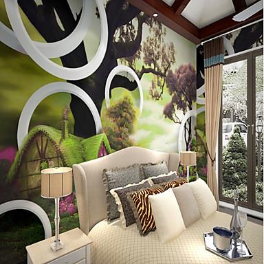 Liście drzew / Wzorzec 3D Dekoracja domowa Rustykalny Tapetowanie, Brezentowy Materiał klej wymagane Fresk, Pokój tapet