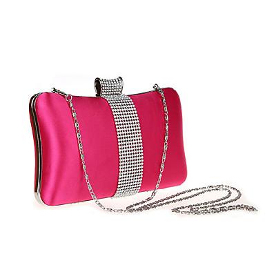 billige Vesker-Dame Krystalldetaljer Satin Aftenveske Rhinestone Crystal Evening Bags Lilla / Fuksia / Vin