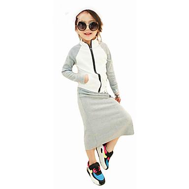 Mädchen Kleidungs Set Solide Einfache Baumwolle Ganzjährig Langarm Freizeit Street Schick Grau