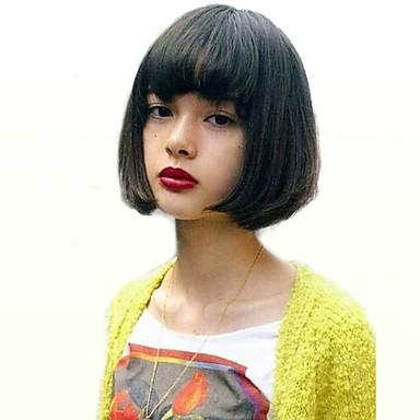 Ludzkie Włosy Capless Peruki Włosy naturalne Prosto Naturalna linia włosów Medium Tkany maszynowo Peruka Damskie / Prosta