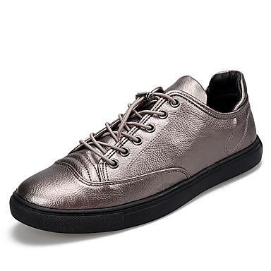 Herren Schuhe PU Frühjahr, Herbst, Winter, Sommer Komfort Leuchtende Sohlen Sneakers Für Normal Schwarz Silber
