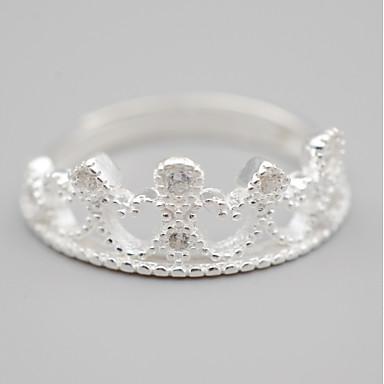 Damskie Cyrkonia Band Ring - Cyrkon, Srebrny Crown Shape Silver