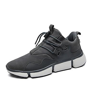 Herren Schuhe PU Frühling Herbst Komfort Sportschuhe Rennen Schnürsenkel Für Sportlich Normal Schwarz Grau Khaki