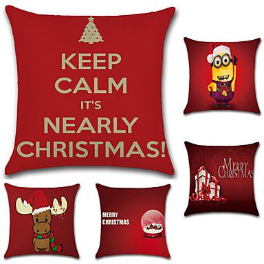 5 szt Cotton / Linen Pokrywa Pillow / Poszewka na poduszkę, Nowość / Modny / Święta Bożego Narodzenia Retro / Tradycyjny / Classic / Euro