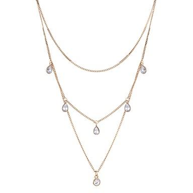 Damskie Rhinestone Warstwy Naszyjniki - Imitacja diamentu Kropla Gold / Wielowarstwowy