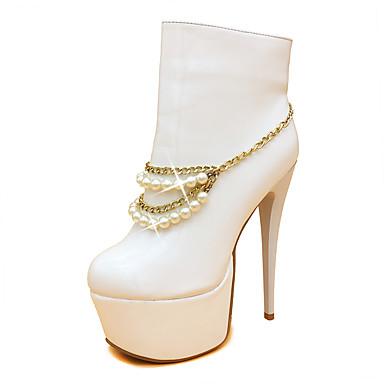 Damen Schuhe Lackleder Mikrofaser Herbst Winter Modische Stiefel Stiefeletten Stiefel Runde Zehe Booties / Stiefeletten Imitationsperle