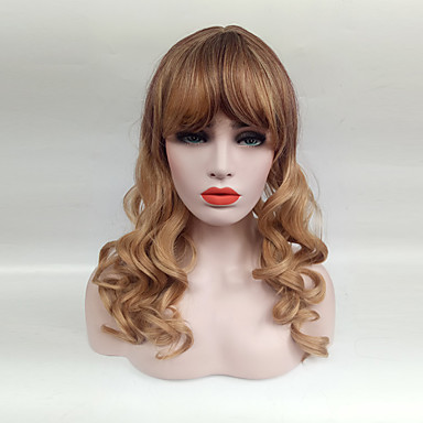 Synteettiset peruukit Laineita Tyyli Otsatukalla Suojuksettomat Peruukki Vaaleahiuksisuus Black / Mansikka Blonde Synteettiset hiukset Naisten Vaaleahiuksisuus Peruukki Keskikokoinen Cosplay-peruukki