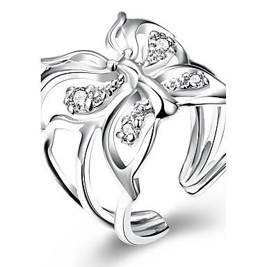 Damen Kristall / Kubikzirkonia - Kupfer, versilbert Schleife Einfach, Rockig, Süß Verstellbar Silber Für Alltag / Verabredung