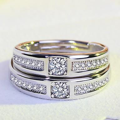 Damskie Cyrkonia, Rhinestone Pierścionek zaręczynowy, Band Ring - Cyrkonia, Srebrny Silver