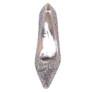 06415442 Bout Block Chaussures Chaussures Printemps de Or carré Femme Basique Eté Strass Mariage Heel Paillettes mariage Argent Escarpin BTfqP4