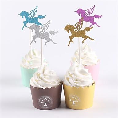 Figurki na tort Motyw plażowy / Klasyczny styl / Baby Shower Zwierzęta Papier Impreza / Urodziny z 12 pcs OPP