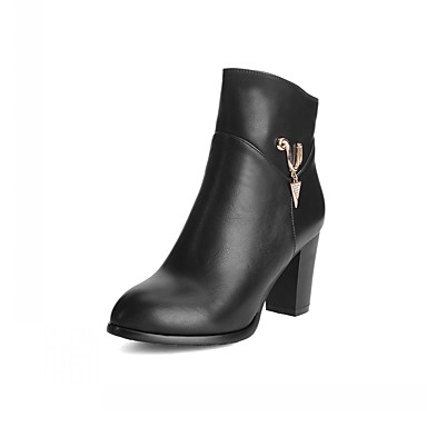 Damen Schuhe PU Kunstleder Winter Modische Stiefel Neuheit Komfort Stiefel Runde Zehe Booties / Stiefeletten Strass für Party &