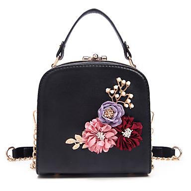 Damen Taschen PU Tragetasche Perlen Verzierung / Blume Weiß / Schwarz / Rosa