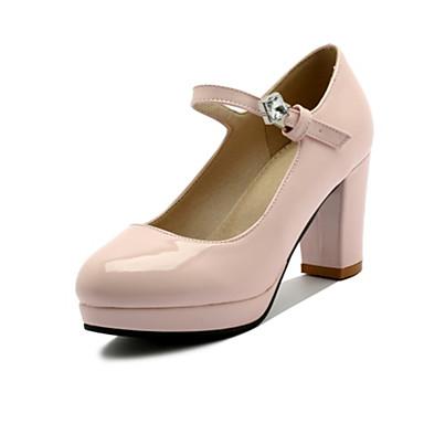 Damen Schuhe Kunstleder Frühling / Herbst Komfort High Heels Runde Zehe Strass / Schnalle Schwarz / Beige / Rosa / Kleid