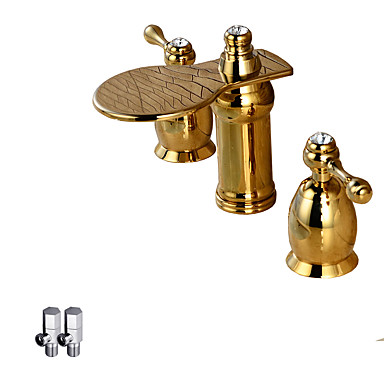 Łazienka kran zlew - Wodospad Rose Gold Kuchyňská dřezová baterie Dwa uchwyty trzy otwory