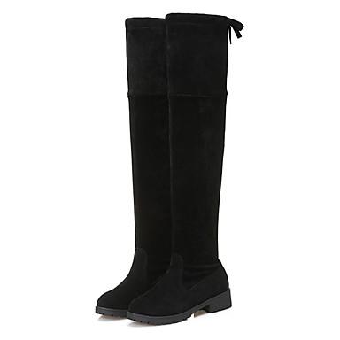 Damskie Obuwie Zamsz Zima Obuwie w stylu wojskowym Buciki Okrągły Toe Udo wysokiej Boots Black