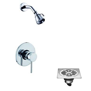 Comtemporary Tylko prysznic Deszczownica Zawór ceramiczny Jeden otwór Chrom, Zestaw baterii