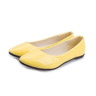 Damen Schuhe PU Frühling Herbst Komfort Flache Schuhe Für Normal Weiß Schwarz Gelb Blau Rosa